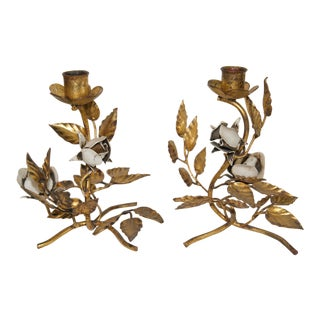1950s Italian Gilt & Tole Polychrome Candle Holders - a Pair For Sale