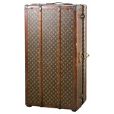 Image of Louis Vuitton Trunk Steamer Wardrobe Trunk Interior Fitted John Wanamaker Label For Sale