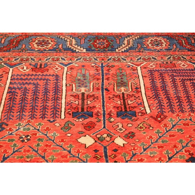 Antique Heriz Persian Rusty Red Background Rug - 9′7″ × 11′7″ For Sale In New York - Image 6 of 11