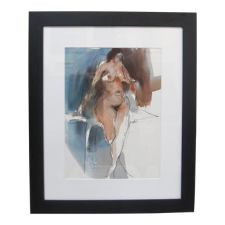 1970s Vintage Jack Laycox Abstract Female Nude Watercolor Painting For Sale