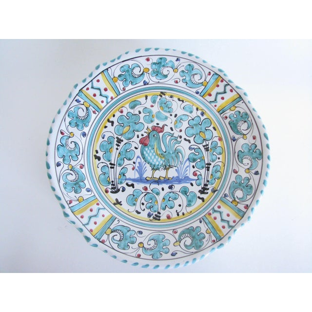 Mid-Century Modern Vintage Mari Deruta Italian Majolica Green Rooster Orvieto Pottery Plates - Set of 6 For Sale - Image 3 of 10