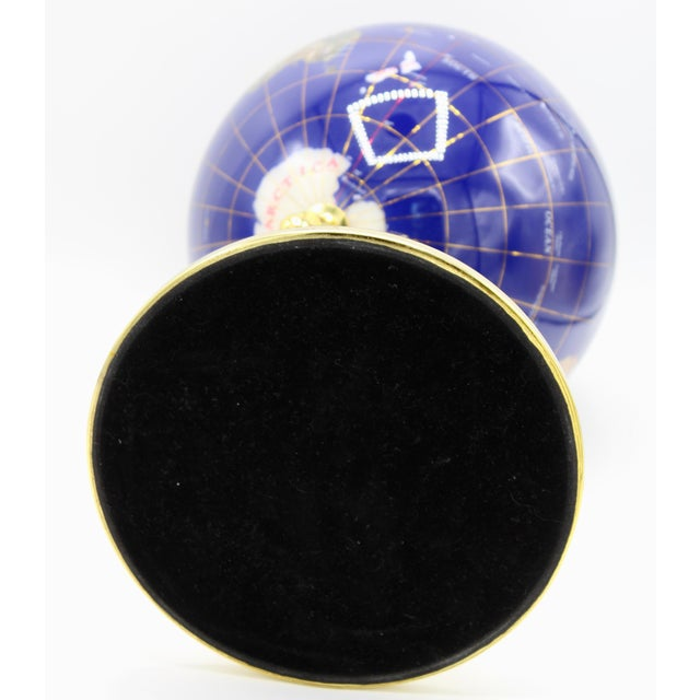 Vintage Blue Lapis World Globe on Brass Stand With Semiprecious Gems For Sale - Image 9 of 13