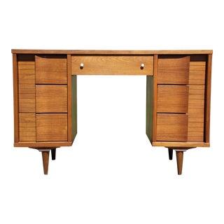 Vintage Mid Century Modern Johnson Carper Fashion Trend Walnut Double Pedestal Desk For Sale