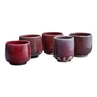 Rolf Palm set of five ceramic vases, Sweden, 1990s For Sale
