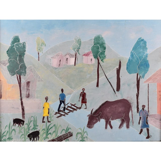 Impressionist Mid 20th Century Haitian Rural Landscape Painting by Nicolas Dreux, Framed For Sale - Image 3 of 9