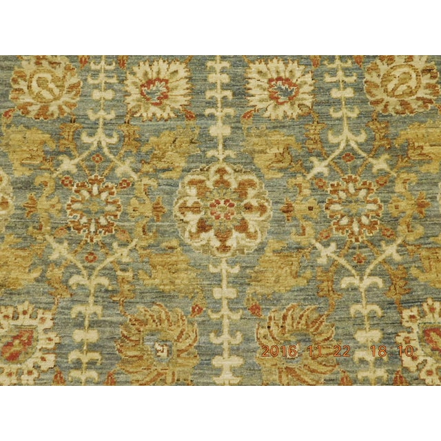 Afghan Hand Knotted Green and Yellow Afghan Rug - 6'x 9' For Sale - Image 3 of 10