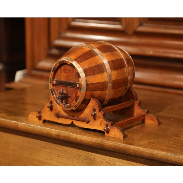 Early 20th Century Early 20th Century French Carved Fruitwood and Brass Cognac Barrel on Stand For Sale - Image 5 of 9