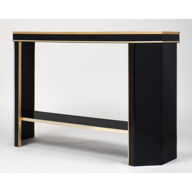 1960s French Black Lucite with Brass Console Table - Image 3 of 9