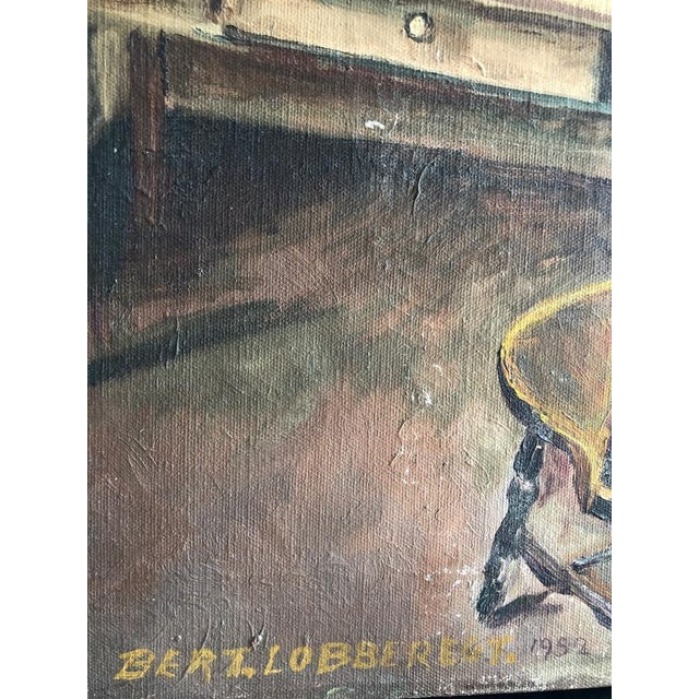 "Canvas Sitting Room Still Life Painting Signed ""Bert. Lobberegt 1952"" For Sale - Image 7 of 10"