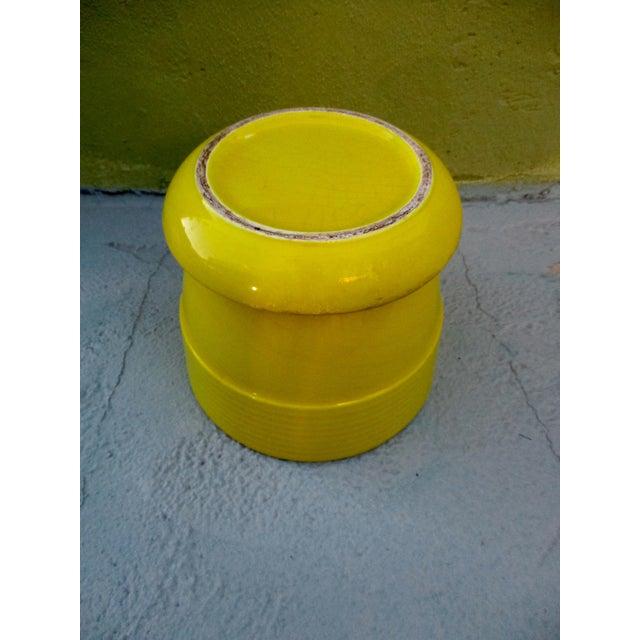 Mid-Century Yellow Ceramic Planter Pot & Iron Tripod Stand - Image 3 of 6