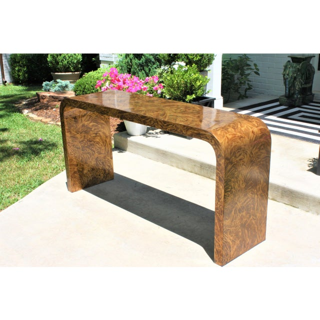 Brown Faux Tortoise Waterfall Console Table in the Style of Karl Springer For Sale - Image 8 of 12