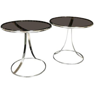 Gardner Leaver for Steelcase Stainless Steel Side Tables - a Pair For Sale