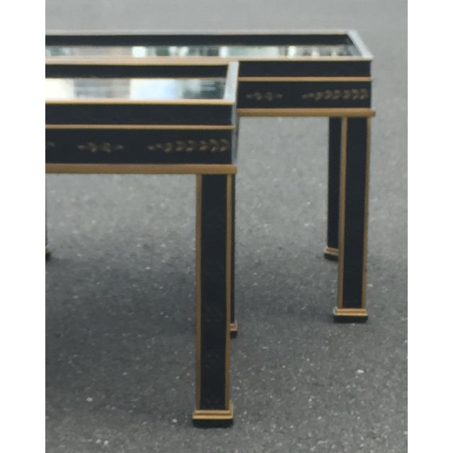 1970s Drexel Sketchbook Chinoiserie Style Black and Gold Lacquer End Tables - a Pair For Sale - Image 5 of 10
