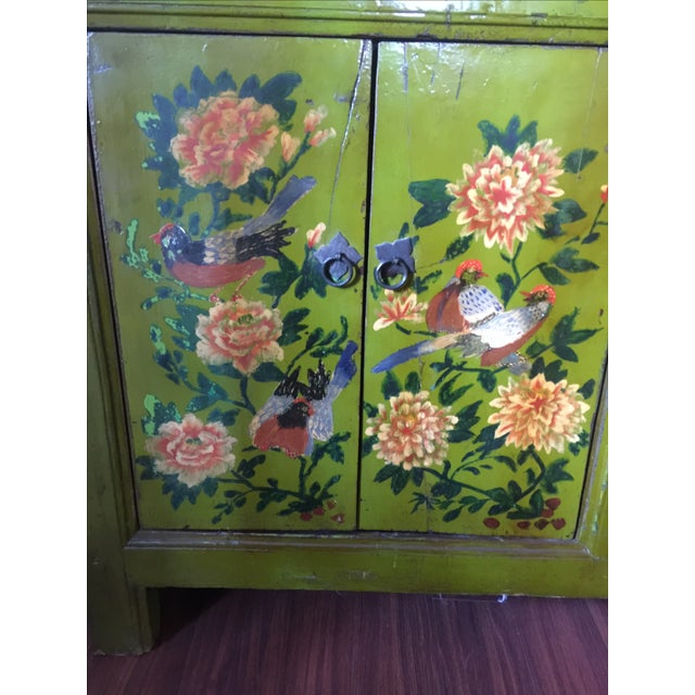 Antique Floral Painted Sideboard Cabinet - Image 3 of 7