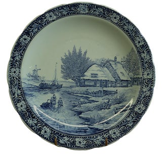 Plate, Signed Sonneville Boch Blue Delft Winter For Sale