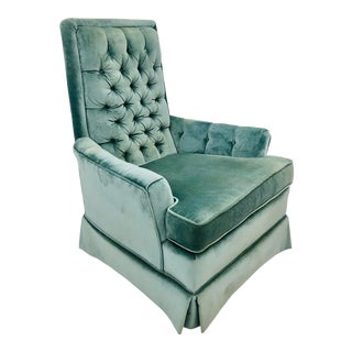 Vintage Mid Century Era Tufted Back Blue Velvet Arm Chair For Sale