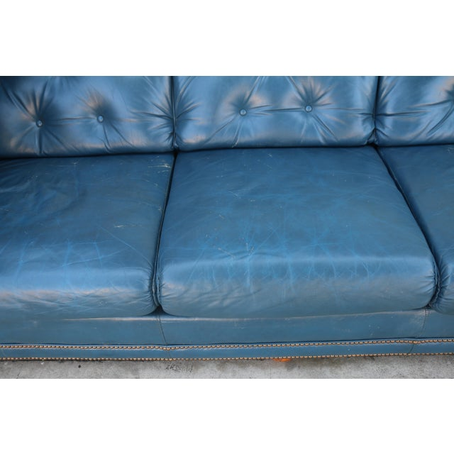 Teal Leather Sofa - Image 5 of 11