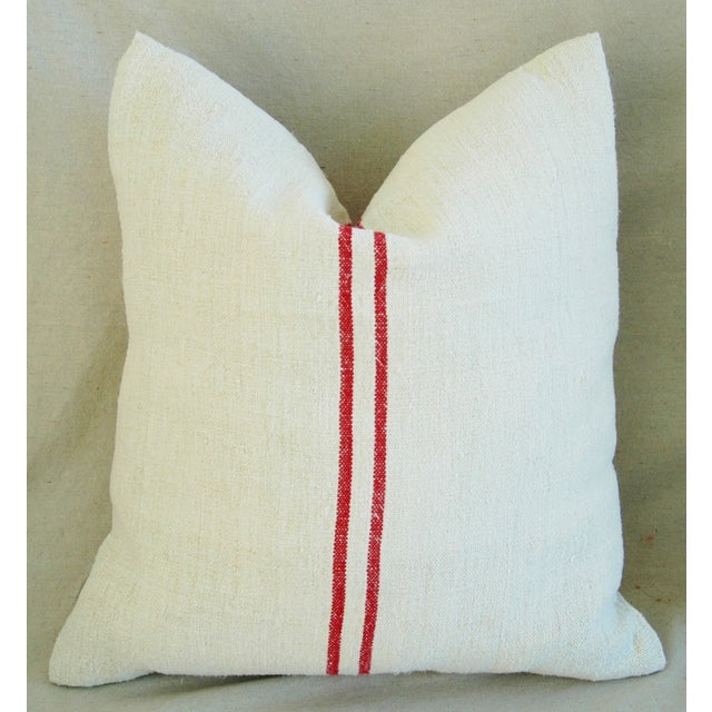 French Red Striped Grain Sack Down/Feather Pillows - Pair - Image 5 of 10
