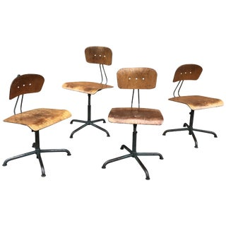 Vintage Basler Eisenmöbelfabrik Sissach, Bes Adjustable Shop Stools- Set of 4 For Sale