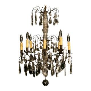 Vintage French Crystal 8 Light Chandelier For Sale