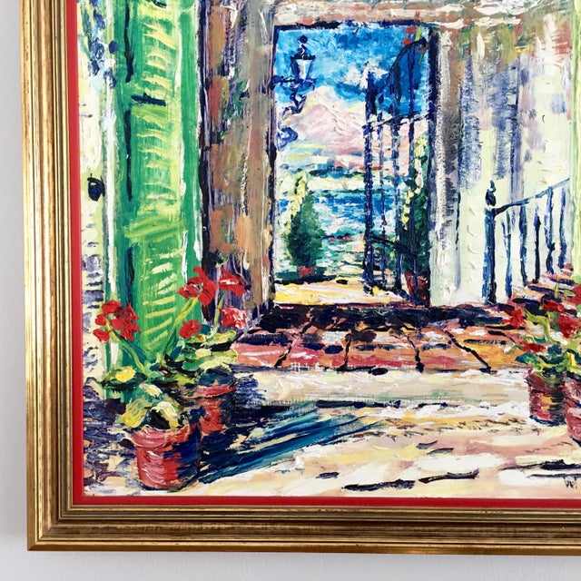 Original Spanish Courtyard Oil Painting For Sale - Image 4 of 12
