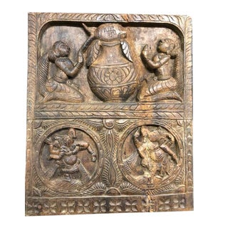 Vintage Indian Carved Wood Ganesha Wall Panel For Sale