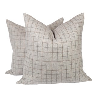 Gray and Camel Plaid Wool Pillows, a Pair For Sale