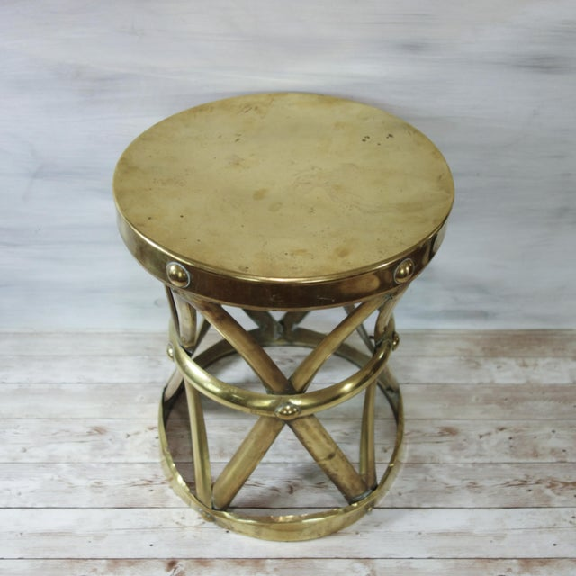 Hollywood Regency 1970's Vintage Brass X Base Garden Stool For Sale - Image 3 of 8