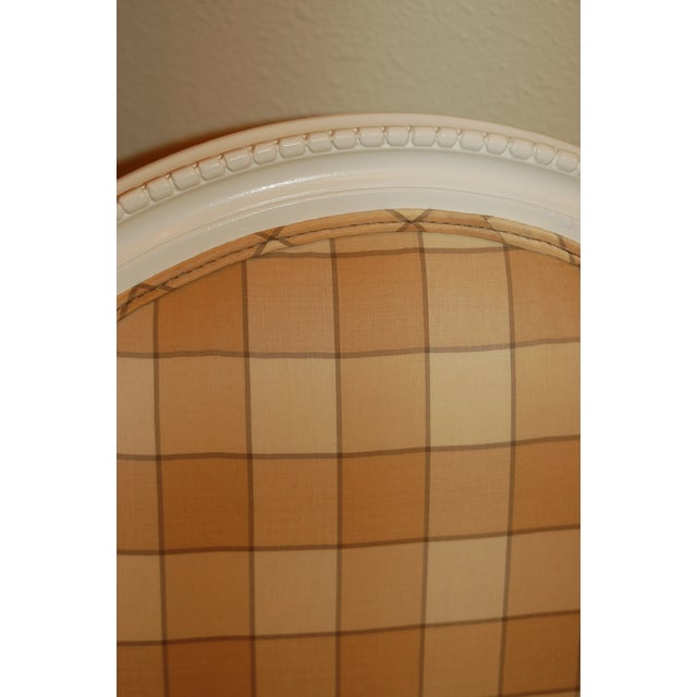 Oval-Back Plaid Upholstered Armchair - Image 6 of 6