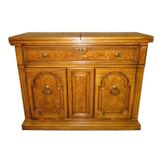 1970s Traditional Thomasville Oak & Burl Wood Flip Top Server For Sale