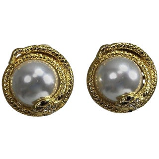 Kenneth Lane Large Jeweled Snake With Pearl Earrings For Sale