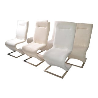 Set of Six Mid-Century Modern Sculptural Chrome Dining Room Chairs Off White For Sale