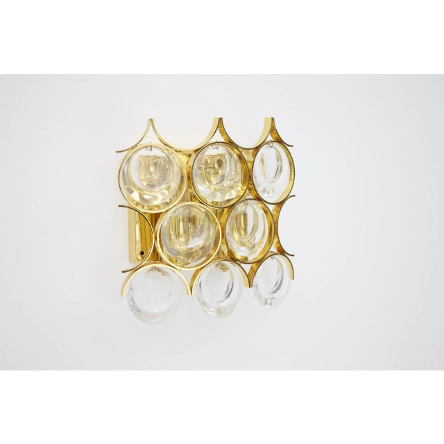 Gold Palwa Single Wall Sconce, Gilded Brass and Crystal Glass 1960s For Sale - Image 8 of 8