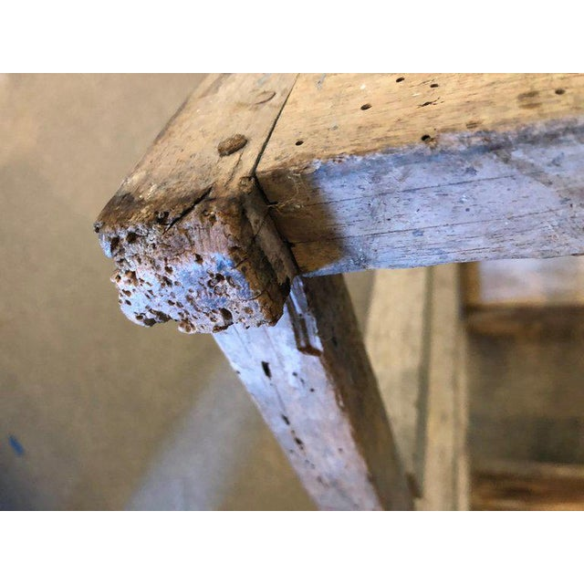 Ladder From France With Pegged Nails, Primitive Wood With Paint Remnants For Sale - Image 11 of 13