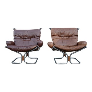Danish Modern Ingmar Relling for Westnofa Leather Lounge Chairs - A Pair For Sale