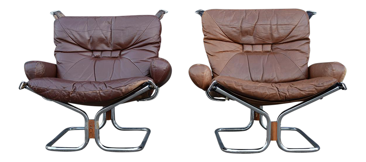Danish Modern Ingmar Relling For Westnofa Leather Lounge Chairs   A Pair