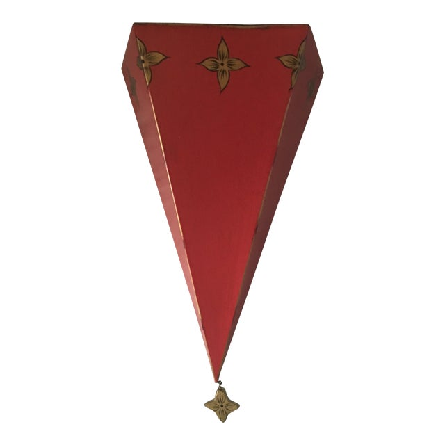 Moroccan Style Red Tole Metal Wall Shelf For Sale
