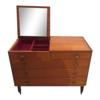 Italian Mid-Century Chest of Drawers With Vanity Mirror For Sale