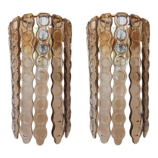 Pair of Murano Tan Glass Sconces, Mazzega Style, Mid-Century Modern, 1970s For Sale