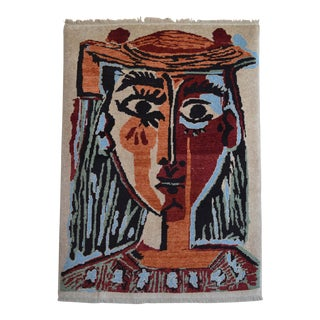 Pablo Picasso - Bust of a Woman - Inspired Hand Knotted Area Rug - Wall Rug 4′ × 5′5″ For Sale