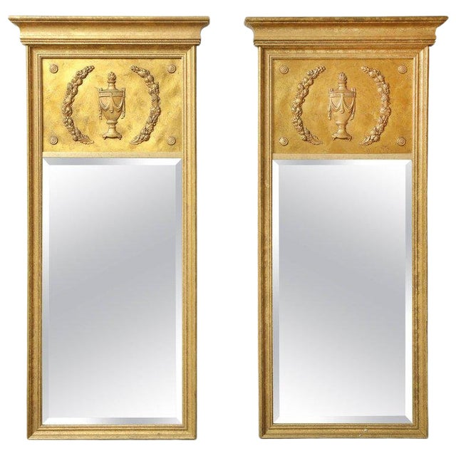 1970s Vintage Giltwood Neoclassical Style Mirrors- A Pair For Sale