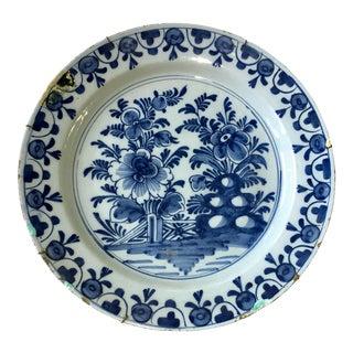 18th Century Dutch Delft Charger Cobalt Blue Faience For Sale