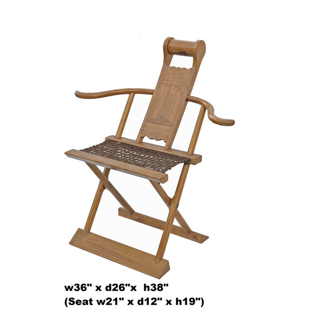 Wood Chinese Elm Wood Wool Seat Wide Arm Folding Armchair For Sale - Image 7 of 8