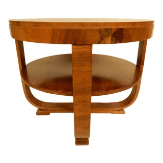 Round Art Deco Walnut Side Table For Sale