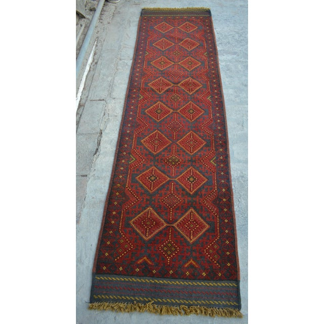 Turkish Tribal Handmade Brown and Navy Wool Rug Runner For Sale In Orlando - Image 6 of 6