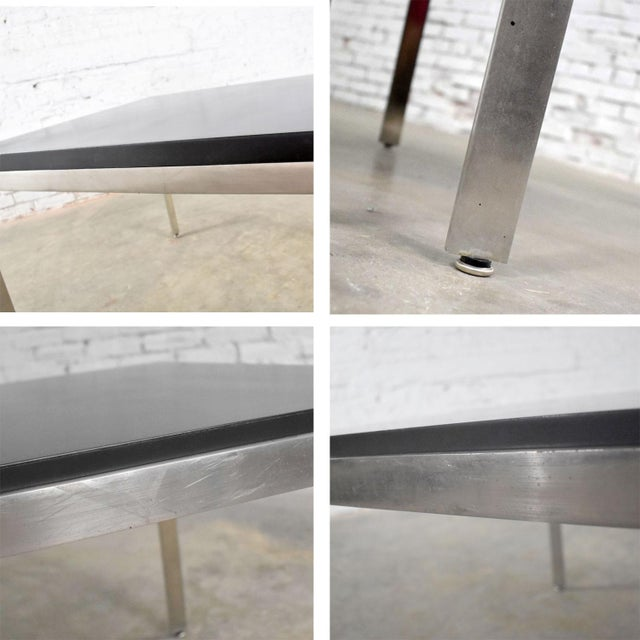 Pair Vintage Large Modern Square End Tables in Stainless Steel With Black Laminate Tops For Sale - Image 11 of 13