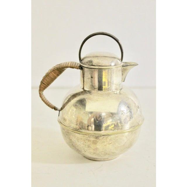 Copper Art Deco 1920's Rattan Handle Tea Pot For Sale - Image 7 of 7
