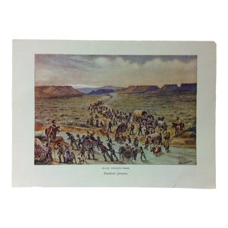 "Americana Color Print on Paper, ""Handcart Pioneers"" by w.h. Jackson, Circa 1940 For Sale"