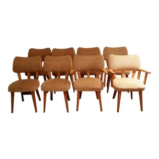 Art Deco Influenced 1960's Mid-Century Modern Dining Chairs - Set of 8