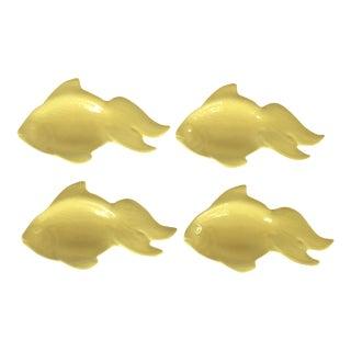 Yellow Ceramic Goldfish Dishes - Set of 4